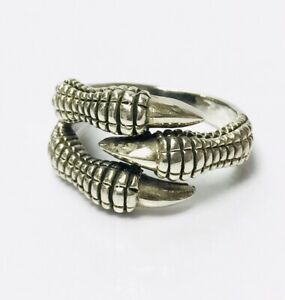 """VINTAGE OLD STOCK Sterling Silver Dragon's Claw Ring UK size """"Y"""" 9.9g Gothic"""