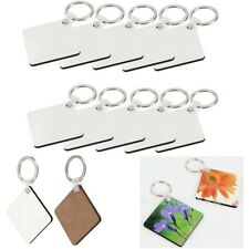 10 Pcs Blank MDF Sublimation Wooden Hard Board Printing DIY Key Rings Key Chain