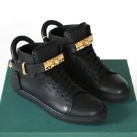 BUSCEMI black leather 100MM shoes hi top gold buckle strap lock sneakers 35 NEW