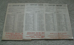 Lot of 3 Vintage 1910s Booklets Century Edition of Ten Cent Sheet Music