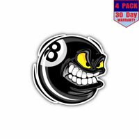Billiards Pool Ball Facetoon 4 Stickers 4x4 Inch Sticker Decal