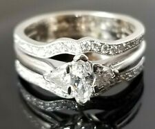 Vintage 1TCW Marquise Solitaire Square Diamond Engagement 14k white gold ring