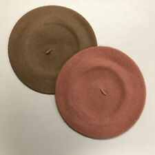Vintage Beret Brijette Brown Tan Winter Hat Lot of 2
