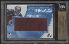 2004-05 ITG Ultimate Patrick Roy Auto Threads Jersey Swatch Autograph 3/10