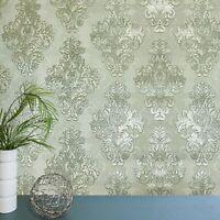 Vintage paper Wallpaper damask gray green metallic cream textured double roll 3D