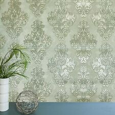 Vintage paper Wallpaper rolls wall coverings damask gray green metallic textured