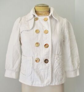 Boutique thick white cotton military style cropped jacket gold buttons pockets M