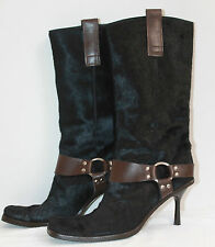 DOLCE & GABBANA BLACK CALF HAIR BOOT WITH BROWN LEATHER TRIM, STILETTO HEEL