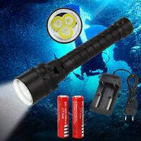 Tauchen 12000LM 3x XM-L2 LED Scuba Taschenlampe Torch 2*18650 Unterwasser 100m