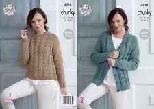 King Cole Ladies Chunky Knitting Pattern Raglan Cabled Cardigan & Sweater 5012