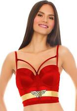 Wonder Woman Satin Mesh Long Line Bra Large Red Gold Corset Comic Fan Lingerie