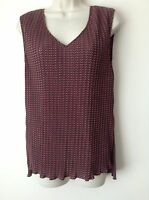 Next Women`s Ladies Brown Print Sleeveless Pleat Top Size 10,12
