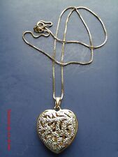 ROSS SIMONS STERLING SILVER GOLD VERMEIL CHAIN W 2 TONE OPENWORK HEART PENDANT