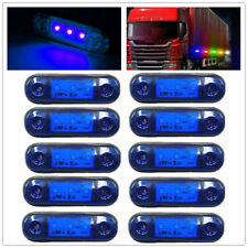 10x 3-LED Clearance Side Marker Lights Indicator Lamp Truck Trailer Lorry Blue