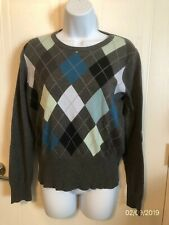 c6b2d68889a7d MERONA Size M Long Sleeve Cotton Sweater Gray Back   Sleeves   Argyle Front