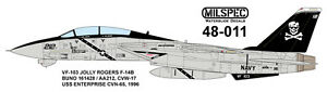 MILSPEC DECAL, MS 48-011, 1/48 SCALE, F-14B TOMCAT, VF-103 JOLLY ROGERS