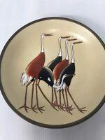"SAKOWITZ Porcelain & Brass Plate Hong Kong Cranes 5.5"" Diameter Vintage"