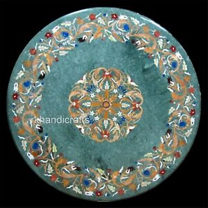 36 Inches Marble Coffee Table Top with Marquetry Art Dining Table Gemstones Work