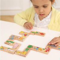 Wooden Animal Cartoon Dominoes For Children Kids Educational Learning Animal Toy