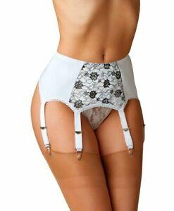 Contrast Lace Garter Belt Adjustable 6 Strap Metal Clips Suspender Belt NDL4