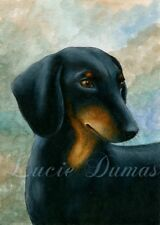 ACEO art print Dog 90 Dachshund Teckel from original painting L.Dumas