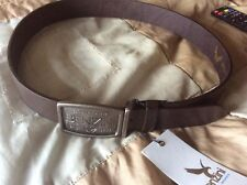 Men's Dark Brown Leather Buckle Belt - Size M 42 ins long - From Benzini - BNWT