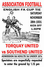 TORQUAY UNITED - VINTAGE 1930's STYLE MATCH POSTER