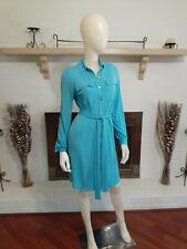CALVIN KLEIN Blue Long Sleeve Self-Tie Shirt Dress-Size 4