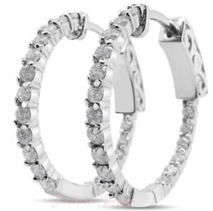 NEW! 1 Carat Moissanite Hoop Earrings Crafted In Solid Sterling Silver, 3/4 Inch