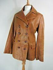 Vintage Marks & Spencer Tan Leather Jacket UK Size 10