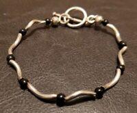"Sterling Silver Toggle Black Gemstone Bead Wavy Link 7.5"" Bracelet"