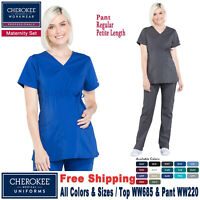 Cherokee Womens Scrubs Core Stretch Set Pewter Top 24703 Pant 24001 NWT