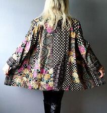 Vtg 80 Ethnic BOHO Hippie Gypsy Floral Grunge OPEN FRONT Swing Jacket Coat Cape