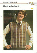 Crochet Pattern ~ MAN'S STRIPED SWEATER VEST ~ Instructions