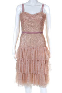 Marchesa Notte Womens Glitter Tulle Cocktail Dress Rose Gold Size 8