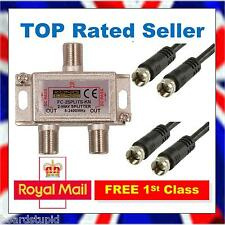 2 Way TV Satellite Cable Splitter Tee Kit - Joins SKY + to Skybox F5 F5S 1M K1B