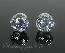 Mens Ladies 12mm REAL SOLID 925 STERLING SILVER Simulated Diamond Studs Earrings