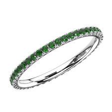 2mm, Natural  Emerald Full Eternity Wedding Ring in 9k White Gold,Hallmarked