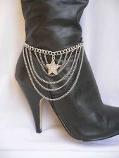 Women Silver Chain Boot Strap Bracelet Texas Lone Star Western Shoe Anklet Charm