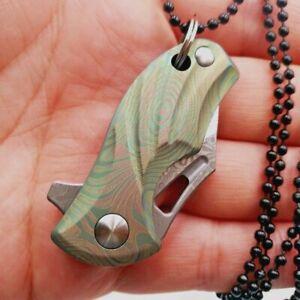 Mini Wharncliffe Folding Knife Pocket Hunting Tactical Damascus Steel Titanium S