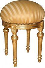 Casa Padrino Barock Sitzhocker Rundhocker Gold Creme Streifen Gold Hocker Möbel