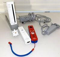 Nintendo Wii Console White + 2 Controllers + Original Wires Tested Gamecube