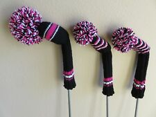 Hand Knit Golf Club Covers- Vintage Style with Pom Poms- Black-Pink-White