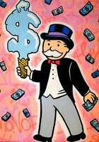 Alec Monopoly Graffiti Handcraft Oil Painting on Canvas, Monopoly Dollar cone 36