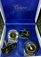 FINECRAFT Darth Vader Gold Plated Mens Cuff Links Toggle Closure and Cologne