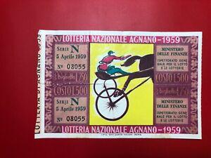 Loterie Ri De Agnano 1959 L.500 Premio 100 Millions
