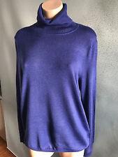 Womens Sz L/14 Mix BRAND Orient Blue Wool Blend Long Sleeve Turtleneck Top