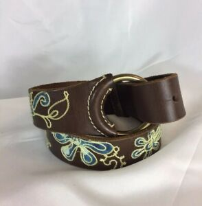 """Lucky Brand Brown Leather, SZ S 34"""",Embroidered Florals, Brass Buckle Boho Belt"""