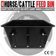 NEW Black Horse Cattle Feed Plastic Bin Bucket With Carry Handle & Brackets