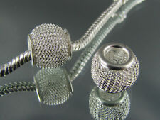 2 X PRETTY SILVER MESH SPACER CHARMS FOR EURO STYLE CHARM BRACELETS  (SP 153)